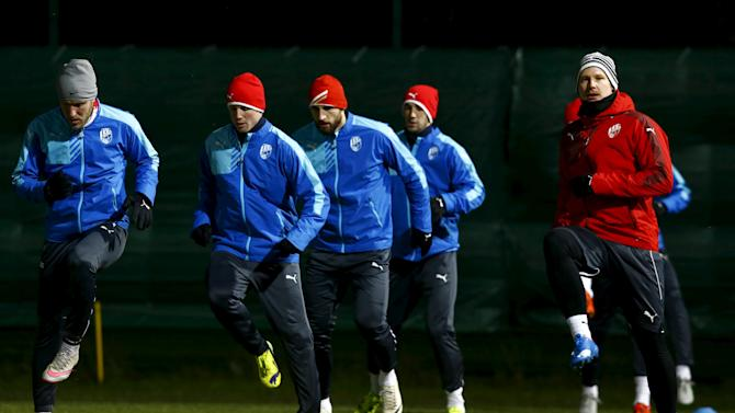 Viktoria Plzen's players attend a training session in Minsk