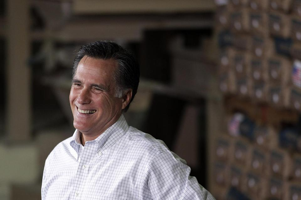 Republican presidential candidate, former Massachusetts Gov. Mitt Romney smiles at a campaign stop in Pittsburgh, Pa., Friday, May 4, 2012. (AP Photo/Jae C. Hong)