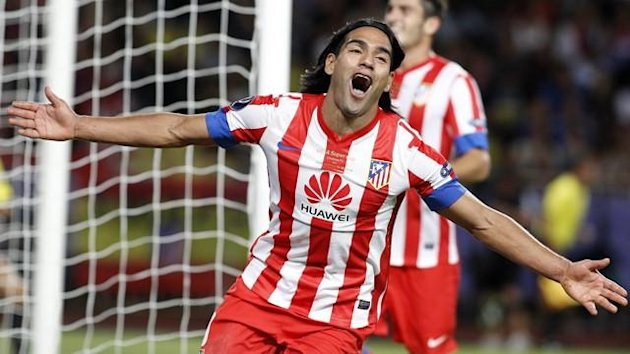 Falcao of Atletico Madrid celebrates after scoring a goal against Chelsea FC