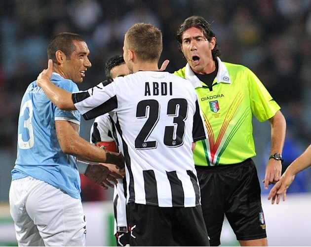 Referee Bergonzi (R) Argues AFP/Getty Images