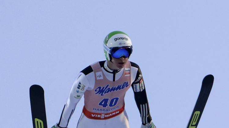 Prevc of Slovenia soars through the air during the first round of the Ski Flying World Championship in Harrachov