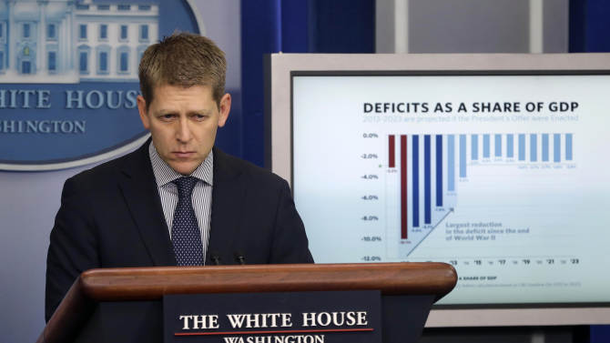 White House press secretary Jay Carney listens during his daily news briefing at the White House in Washington, Thursday, Feb., 21, 2013. (AP Photo/Pablo Martinez Monsivais)
