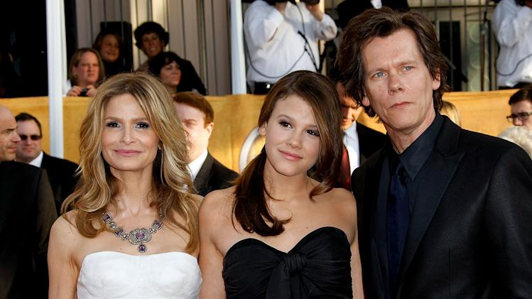 Kyra Sedgwick and Kevin Bacon and daughter Sosie Bacon arrives at the 15th Annual Screen Actors Guild Awards held at the Shrine Auditorium on January 25, 2009 in Los Angeles, California.