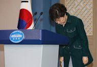 South Korea's President Park Geun-Hye bows after a live television address in Seoul on March 4, 2013. Park made a public apology Monday for a political deadlock blocking the formation of her government at a time of heightened nuclear tension with North Korea