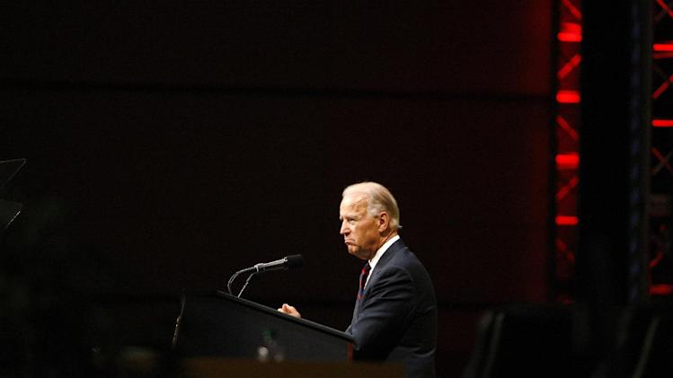 Vice President Joe Biden speaks at the International Association of Fire Fighters (IAFF) convention, Wednesday, July 25, 2012, in Philadelphia.  Biden worked with the IAFF to reform the Staffing for Adequate Fire and Emergency Response (SAFER) grant program to ensure grants to put laid-off firefighters back on the job.  (AP Photo/Brynn Anderson)
