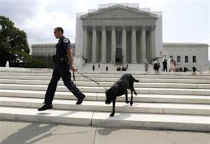 A policeman and his bomb sniffing dog walk in front of the Supreme Court in Washington
