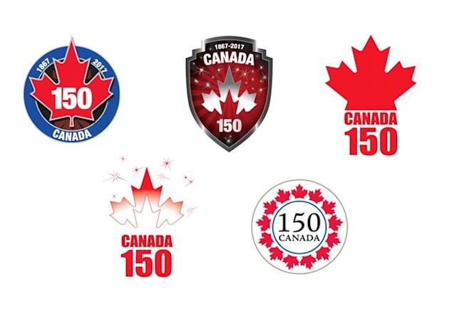 Proposed logos for Canada's 150th birthday are shown in a handout photo. The logos are getting decidedly mixed reviews from the first Canadians to see them, with some complaining one looks too muc