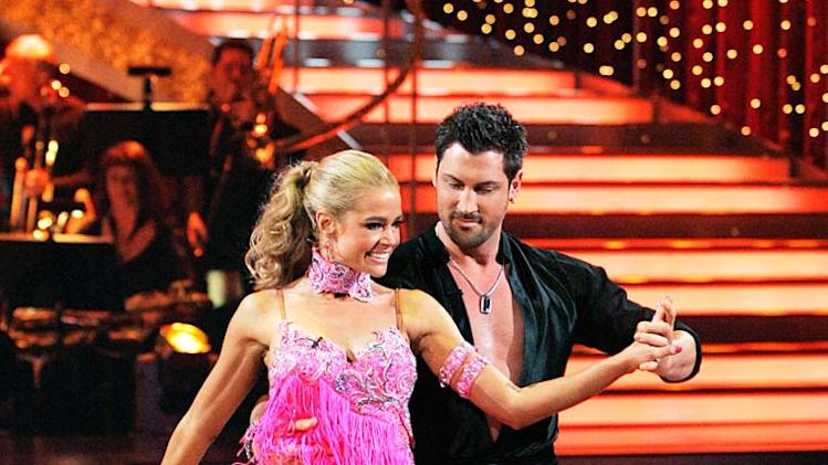 "Denise Richards and Maksim Chmerkovskiy perform the Cha-cha to ""Nothin' but a Good Time"" by Poison on ""Dancing with the Stars."""