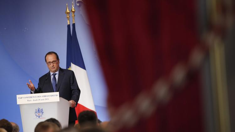 French President Hollande delivers a speech during the annual Conference of Ambassadors at the Elysee Palace in Paris