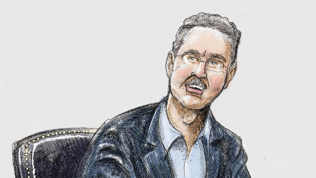 In this courtroom sketch R. Allen Stanford turns to reassure friends and family members in the gallery while Judge Hittner reads the guilty verdict in 13 out of 14 charges, in Houston, Tuesday, March 6, 2012. Stanford, once considered one of the wealthiest people in the U.S., with a financial empire that spanned the Americas, was convicted Tuesday on charges he bilked investors out of more than $7 billion. (AP Photo/Houston Chronicle, Ken Ellis)