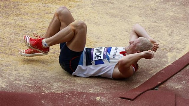 Britain's Daniel Awde reacts after a jump in the men's decathlon long jump event at the London 2012 Olympic Games