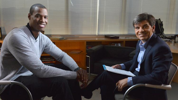 "In this photo provided by ABC, NBA basketball veteran Jason Collins, left, poses with George Stephanopoulos during an interview, Monday, April 29, 2013, in Los Angeles. In a first-person article posted Monday on Sports Illustrated's website, Collins became the first active player in one of four major U.S. professional sports leagues to come out as gay. The interview aired on ""Good Morning America"" on Tuesday. (AP Photo/ABC, Eric McCandless)"