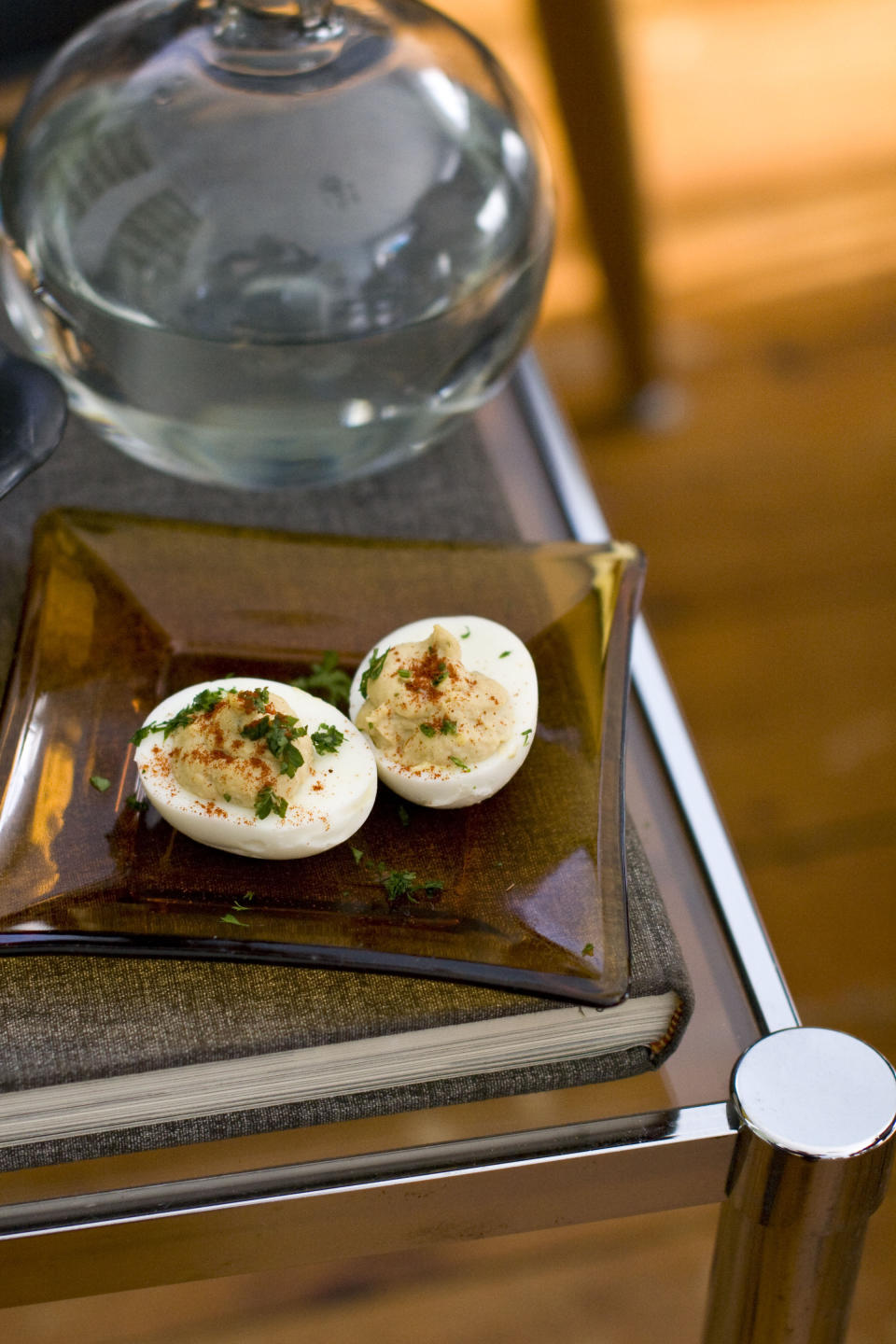In this Feb. 13, 2012 photo taken in Concord, N.H., a recipe for deviled eggs is shown. (AP Photo/Matthew Mead)