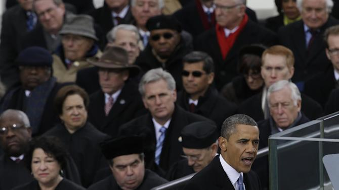 President Barack Obama speaks during the ceremonial swearing-in at the U.S. Capitol during the 57th Presidential Inauguration in Washington, Monday, Jan. 21, 2013. (AP Photo/Paul Sancya)