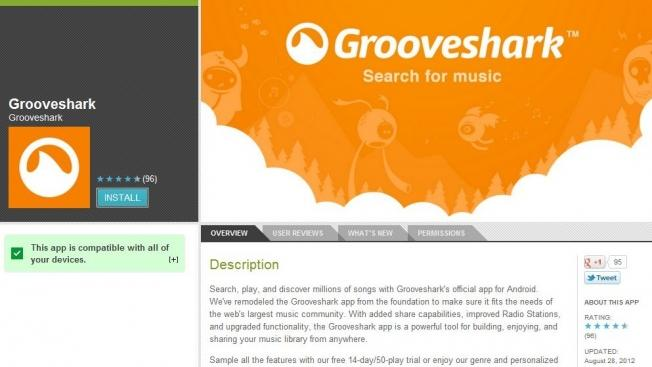 Grooveshark faces the music once again, pulled from Google's app store