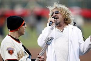 File photo of musician Hagar performing country's national anthem before game between San Francisco Giants and St. Louis Cardinals in San Francisco