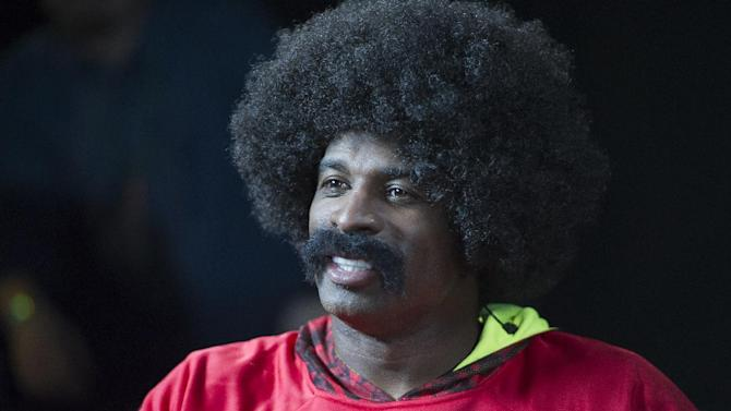 """Leon Sandcastle, NFL Network's fictional character and """"next rookie sensation"""" visits the Kansas City Chiefs (holders of the number 1 pick in the NFL Draft) on Thursday, March 28th at the University of Kansas Hospital Training Complex in Kansas City, Mo.  (G. Newman Lowrance/AP Images for NFL Network)"""