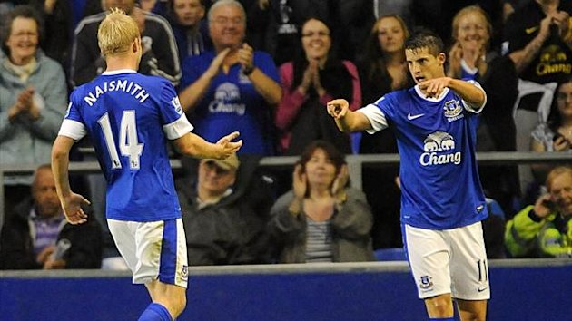 Everton's Kevin Mirallas (right) celebrates scoring