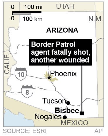 Map locates Bisbee Arizona, where a Border Patrol agent is fatally shot and another is wounded.