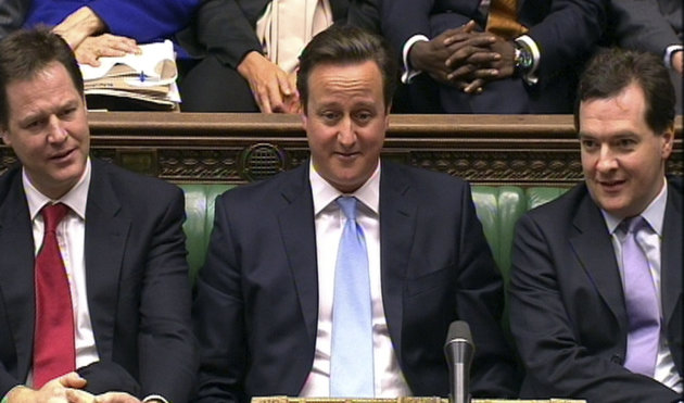 In this video grab, from left to right, Deputy Prime Minister Nick Clegg, Prime Minister David Cameron and Chancellor of the Exchequer George Osborne during Prime Minister&#39;s Questions, in the House of Commons, London, Wednesday Jan. 9, 2013. Top executives have warned British Prime Minister David Cameron that he could damage Britains economy if he seeks to renegotiate the terms of its membership of the 27-country European Union. In a letter published in the Financial Times Wednesday, Virgin Groups Richard Branson, London Stock Exchange head Chris Gibson-Smith, WPP chief executive Martin Sorrell and seven other business leaders challenged Camerons plan to renegotiate the U.K.s membership terms of the 27-country EU and put the matter to a referendum. (AP Photo/PA) UNITED KINGDOM OUT NO SALES NO ARCHIVE