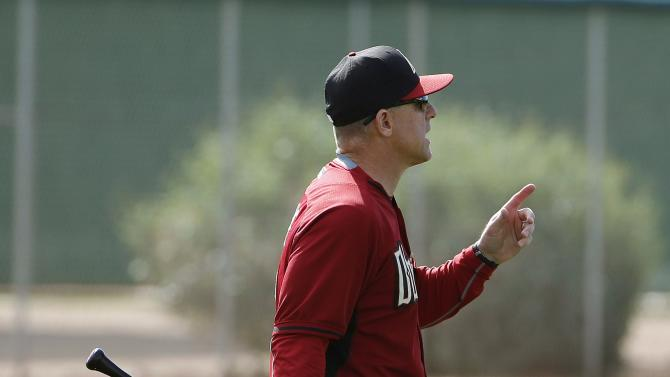 Arizona Diamondbacks manager Chip Hale tries to explain a fielding situation during spring training baseball practice Thursday, Feb. 26, 2015, in Scottsdale, Ariz. (AP Photo/Ross D. Franklin)