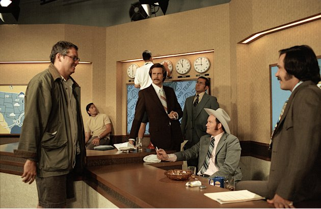 Director Adam McKay Will Ferrell Steve Carell David Koechner Paul Rudd Anchorman: The Legend of Ron Burgundy Production Stills DreamWorks 2003