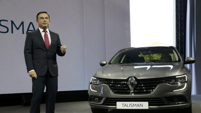 Carlos Ghosn, CEO of the Renault-Nissan Alliance, delivers a speech during the unveiling of the new Renault's new D-segment saloon Talisman during a press event at the Chateau de Chantilly near Paris