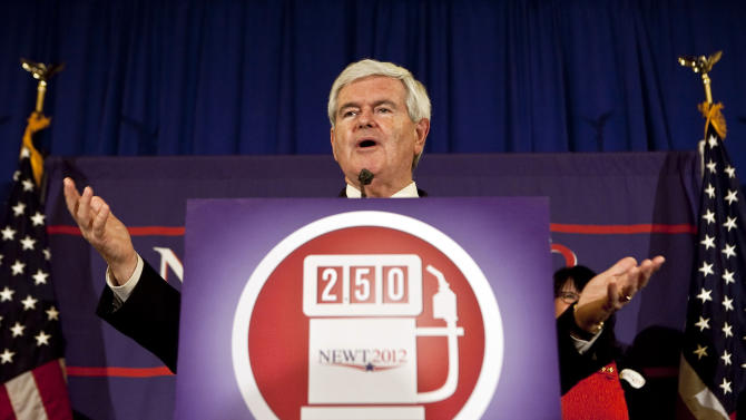 "FILE - In this March 21, 2012 file photo, Republican presidential candidate, former House Speaker Newt Gingrich speaks in Lafayette, La. The Republican primary campaign is already fading into memory. Remember Herman Cain's 9-9-9 tax plan? Newt Gingrich's ""moon base"" proposal? Or Rick Perry's ""oops"" moment _ when he couldn't recall that third federal agency he wanted to eliminate?  (AP Photo/Julia Rendleman, File)"