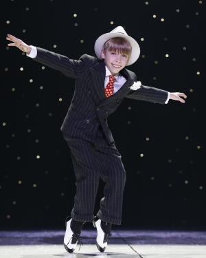 """This undated image released by Keith Sherman & Associates shows Luke Spring during a performance of """"A Christmas Story: The Musical."""" Spring has tapped his way onto """"The Ellen DeGeneres Show,"""" the Tony Award telecast from Radio City Music Hall, and now """"A Christmas Story: The Musical,"""" at Madison Square Garden until Dec. 29. (AP Photo/Keith Sherman & Associates, Carol Rosegg)"""