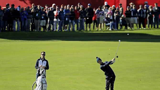 Europe's Thomas Pieters hits a shot on the second hole during a practice round for the Ryder Cup golf tournament Tuesday, Sept. 27, 2016, at Hazeltine National Golf Club in Chaska, Minn. (AP Photo/Charlie Riedel)