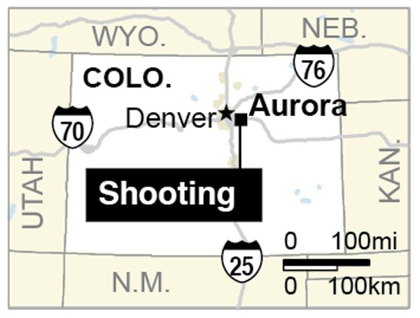 Map locates Aurora, Colorado, where a gunman opened fire at a movie theater killing at least 14 people.