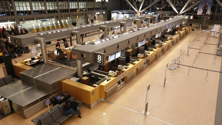 Empty Lufthansa terminal is pictured after all flights were cancelled due to storm at airport Fuhlsbuettel in Hamburg