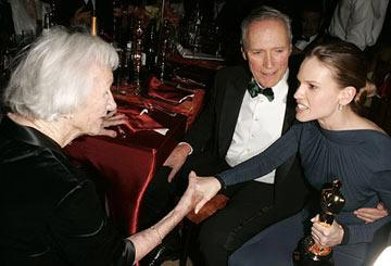 Clint Eastwood introduces Hilary Swank to his mother The 77th Annual Academy Awards - Governors Ball Hollywood, CA - 2/27/05