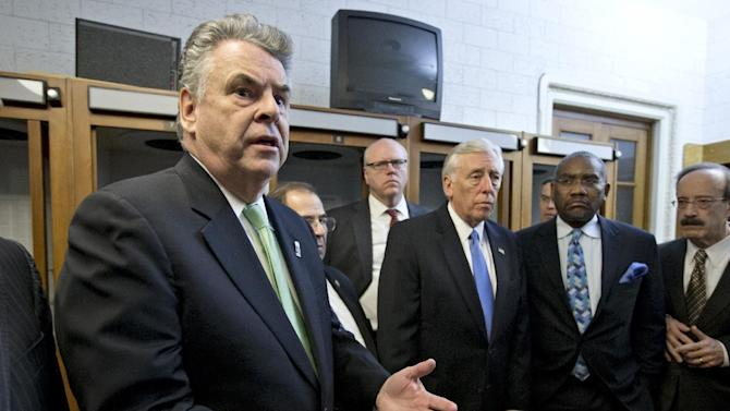 Rep. Peter King, R-N.Y., left, joined by other New York area-lawmakers affected by Superstorm Sandy, express their anger and disappointment after learning the House Republican leadership decided to allow the current term of Congress to end without holding a vote on aid for the storm's victims, at the Capitol in Washington, early Wednesday, Jan. 2, 2013. From left are, King, Rep. Jerrold Nadler, D-N.Y., Rep. Joseph Crowley, D-N.Y., House Minority Whip Steny Hoyer of Md., Rep. Gregory Meeks, D-N.Y., and Rep. Eliot Engel, D-N.Y.(AP Photo/J. Scott Applewhite)