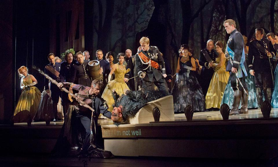 "In this Oct. 15, 2012 photo provided by the Metropolitan Opera, the cast performs a scene from Act 2 during a dress rehearsal of Thomas Adès's ""The Tempest,"" at the Metropolitan Opera in New York. (AP Photo/Metropolitan Opera, Ken Howard)"