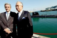 File photo shows French Defence Minister Herve Morin (L) and Najib Razak, then Malaysian Deputy PM and Defence Minister, at the launch of the first of two Scorpene submarines ordered by Malaysia in 2007. Earlier this year, a French court started hearing a complaint launched by Suaram, accusing Najib and others over a 2002 deal to buy two submarines from France