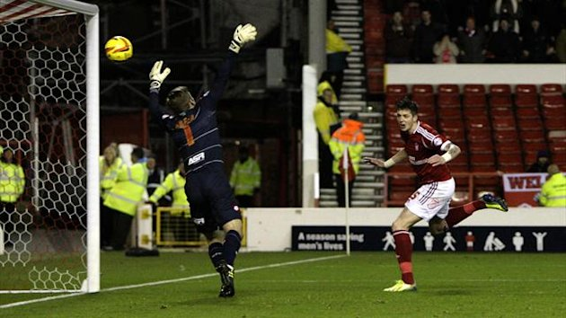 Nottingham Forest's Greg Halford scores his side's first goal of the game (PA Photos)