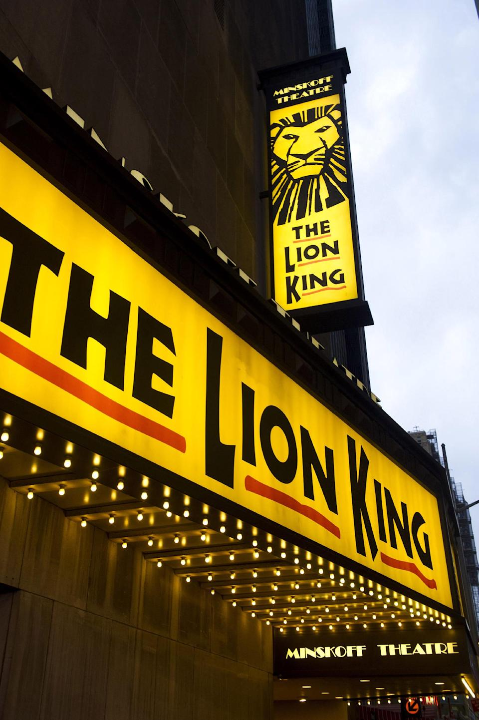 "FILE - In this Jan. 19, 2012 file photo,""The Lion King"" marquee is displayed at The Minskoff Theatre in New York. The Lion King"" has more reason to roar - it's on pace to end the week as the first Broadway show to earn $1 billion. (AP Photo/Charles Sykes, file)"