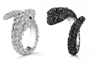 Snake rings with pave diamonds from the Protector collection.
