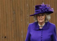 Britain's Camilla, Duchess of Cornwall, arrives for the Archbishop of Canterbury's enthronement ceremony at Canterbury Cathedral in southern England March 21, 2013. The new spiritual leader of the world's Anglicans was enthroned by a female cleric on Thursday, taking the helm at a time when the troubled church risks tearing itself apart over gay marriage and women bishops. REUTERS/Luke MacGregor