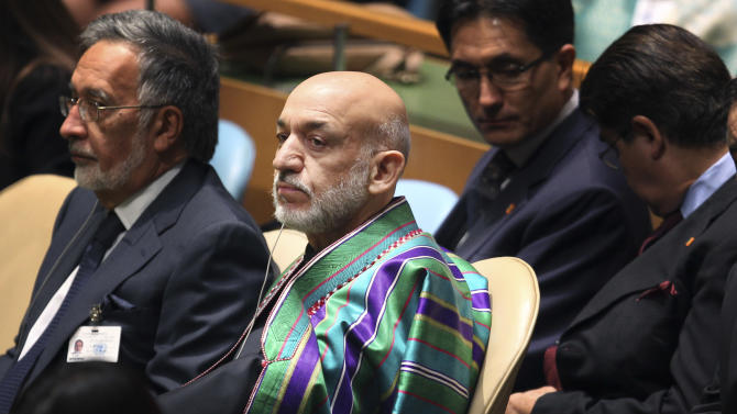 Hamid Karzai, President of Afghanistan, listens to speakers during the 67th session of the General Assembly at United Nations headquarters Tuesday, Sept. 25, 2012. (AP Photo/Seth Wenig)