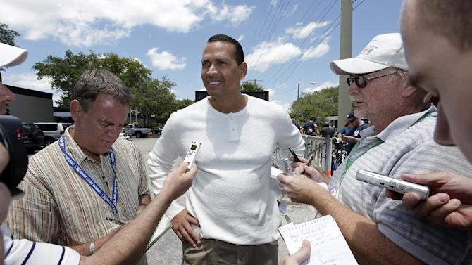 New York Yankees third baseman Alex Rodriguez talks to the media after reporting to the Yankees' Minor League complex for rehabilitation Monday, May 6, 2013, in Tampa, Fla. Rodriguez is rehabbing from hip surgery. (AP Photo/Chris O'Meara)
