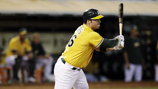 Oakland Athletics' Derek Norris follows through on a two-RBI single off Texas Rangers' Matt Harrison in the fifth inning of a baseball game, Tuesday, Oct. 2, 2012, in Oakland, Calif. (AP Photo/Ben Margot)