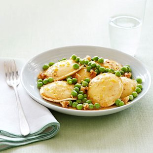 Ravioli with Peas and Brown Butter Sauce