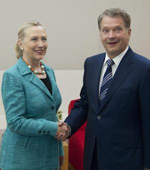 U.S. Secretary of State Hillary Rodham Clinton meets with President of Finland Sauli Niinistö, Wednesday, June 27, 2012, at the Mantyniemi Presidential Residence in Helsinki, Finland. (AP Photo/Haraz N. Ghanbari, Pool)