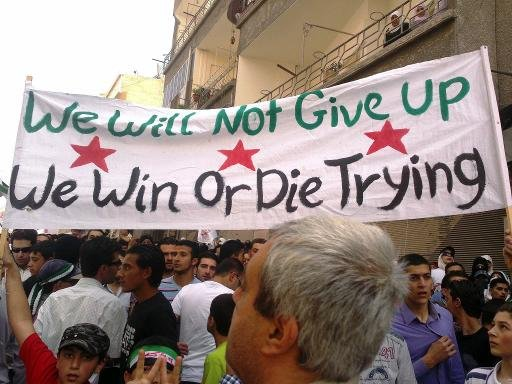 An anti-regime demonstration in Yabrud on May 18, 2012