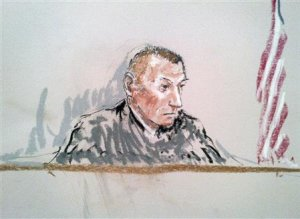 A courtroom sketch shows judge Army Colonel Jeffery …