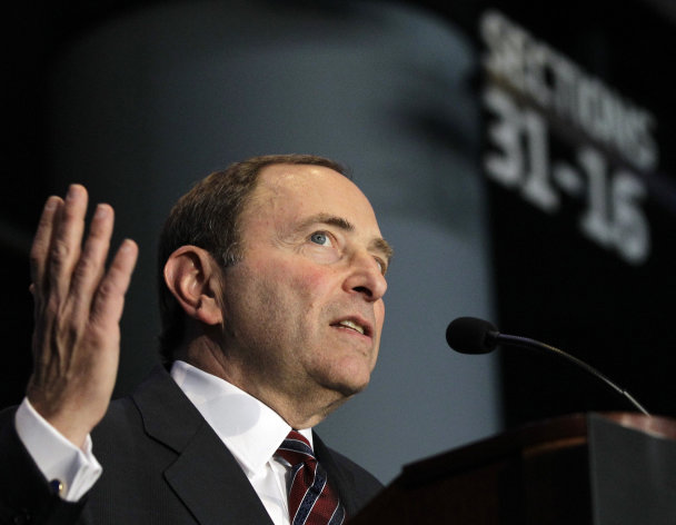 National Hockey League Commissioner Gary Bettman speaks during a press conference, Wednesday, Oct. 24, 2012 in New York, announcing that the Islanders hockey club will move from Nassau Veterans Memorial Coliseum in Uniondale, N.Y., and play at Brooklyn&#39;s Barclays Center starting in 2015. (AP Photo/Kathy Willens)