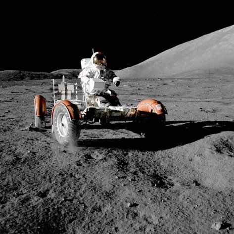 NASA astronaut Eugene A. Cernan makes a short checkout of the lunar rover during the early part of the first Apollo 17 extravehicular activity at the Taurus-Littrow landing site in this NASA handout picture taken forty years ago today, December 11, 1972, and released December 11, 2012. This photograph was taken by scientist-astronaut Harrison H. Schmitt, lunar module pilot. REUTERS/NASA/Handout   (UNITED STATES - Tags: SCIENCE TECHNOLOGY) THIS IMAGE HAS BEEN SUPPLIED BY A THIRD PARTY. IT IS DISTRIBUTED, EXACTLY AS RECEIVED BY REUTERS, AS A SERVICE TO CLIENTS. FOR EDITORIAL USE ONLY. NOT FOR SALE FOR MARKETING OR ADVERTISING CAMPAIGNS