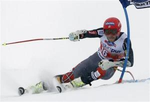 Miller of the US clears a gate during the first run of the men's World Cup giant slalom race in St. Moritz